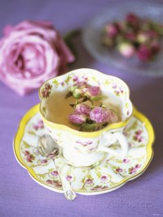 Tea with Rosebuds in Romantic Cup Photographic Print