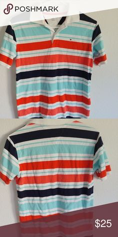 "NWOT, Boys polo shirt Nice looking polo shirt by Tommy Hilfiger.  Tried on and said ""not my style grandma.""  NWOT  size 10/12 Tommy Hilfiger Shirts & Tops Polos"