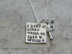 Johnny Cash I Keep A Close Watch On This Heart Of Mine Necklace  Hand Stamped Necklace  Personalized Jewelry