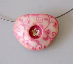 Pink swirls print on pearl polymer clay triangle pendant by OrlyFuchsGalchen