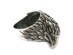 The Eagle Ring is a very detailed jewel totally handmade in Mexico. It is a sterling silver ring that has been detailed and handcrafted