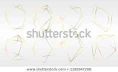 set of luxury golden crystal shapes. Isolated illustration element. Isolated illustration element. Geometric quartz polygon crystal stone mosaic shape amethyst gem.