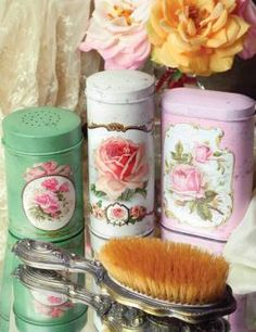 """Talcum Tins    Variations on a powdery theme: A threesome of food safe boxes could harbor anything from butter cookies to cotton balls. Food Safe, 6"""", 5.5"""", 4.5"""". Set of 3."""