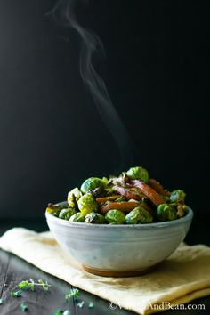 Brussels Sprouts are roasted until crisp with pears, shallots and thyme, then finished with toasty hazelnuts. Vegan + Gluten Free   Vanilla And Bean