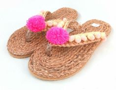 These pair have a unique little peachy colour pompoms around woven foot strap and one big pink one above the plastic toe gap holder at the front. Very durable plastic rubber soles and hard wearing footwear too. Kaftan Tops, Bat Wings, Peach, Bohemian, Footwear, Amp, Pink, Shoes, Women