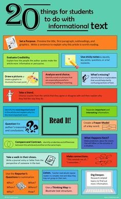 20 Things for Students to Do with Informational Text [infographic] Reading Intervention, Reading Skills, Teaching Reading, Teaching Literature, Kindergarten Writing, Teaching Strategies, Teaching Resources, Instructional Strategies, Teaching Ideas
