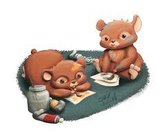 Painting hamsters Illustration by S.K.Y. van der Wel  at Coroflot.com