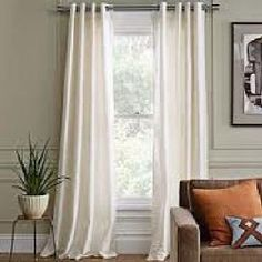 "Amazon.com: Gorgeous Home 1 PANEL SOLID IVORY OFF WHITE SEMI SHEER WINDOW FAUX SILK ANTIQUE BRONZE GROMMETS CURTAIN DRAPES MIRA * AVAILABLE IN DIFFERENT SIZES * (63"" LENGTH): Home & Kitchen"
