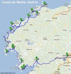 Mapa Ruta en coche Costa da Morte Best Beaches In Portugal, Portugal Vacation, Places In Portugal, Visit Portugal, Spain And Portugal, Portugal Travel, Spain Travel, Places To Travel, Places To Go