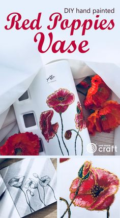 DIY Hand Painted Red Poppies Vase