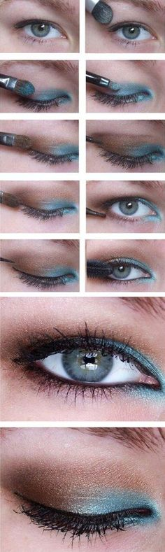 Turquoise & Copper Eye Shadow Tutorial  ❤ ℒℴvℯly on hooded eyes