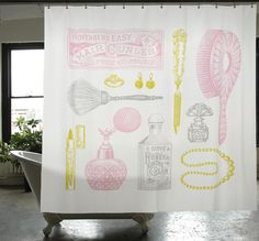 This still isn't exactly what I'm looking for, but I do like it: Powder Room Shower Curtain | Izola