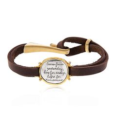 Learn, Leather Strap Inscribed Bracelet with Sterling Silver