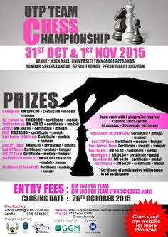 Before GiLoCatur forgets, would like to share chess tournaments that will be held at UTP. Team Events, Oct 1, Racing Events, Cultural Events, Event Organization, Chess, Hold On, Event Posters, Naruto Sad
