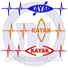Digital Download 3 Kayak Heartbeat SVG DXF by ThreeDegreeHobbies