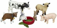 Schleich Plastic Animal Figurines: Baby Farm Animals: Goat, Lamb, Piglet, Foal, Calf, $16