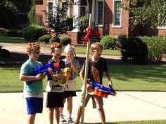 Nerf party....play capture the flag with dart guns.  If hit by a dart, player goes back to touch home base, then rejoins the game.  No one ever sits out of play.  Capture the other team's flag and win the game!