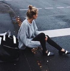Street style, oversized grey knit, black pants, black and white flats. Love those shoes!