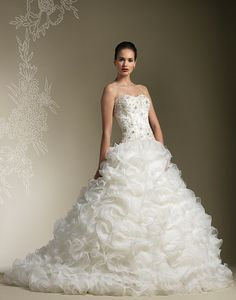 Strapless soft sweetheart beaded lace bodice with full organza ruffle skirt, chapel length train and buttons down back of zipper