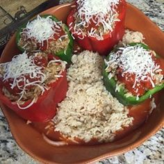 Beef and Rice Stuffed Bell Peppers - Allrecipes.com Read reviews.