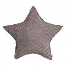 Cojín Estrella - Gris y estrellas blancas