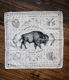 Bandana - Keep It Wild - Natural - Bexar Goods Co :: Texas Makers of Durable Goods Bandana Scarf, Bandana Print, Men Scarf, Wild Logo, Vintage Bandana, Bandana Design, Men's Pocket Squares, Textiles, Scarf Design