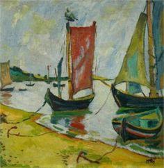 """""""Nidden, Coastline with Fishing Boats"""",  Max Pechstein. Ostpreussen, Kurische Nehrung"""
