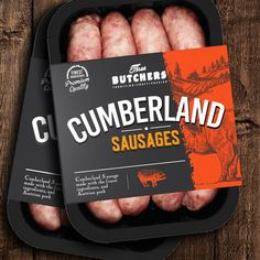 Amazing stand out retail packing for sausages! Takeaway Packaging, Food Packaging Design, Packaging Design Inspiration, Simple Packaging, Carnicerias Ideas, Chorizo, Cumberland Sausage, Meat Packing, How To Make Sausage