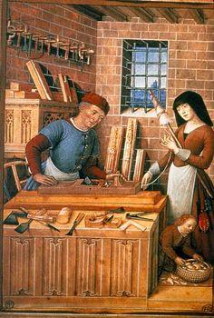 The joiner and his family, Les États de la société (BNF Fr. 2374, fol. 1v), end of the 15th century