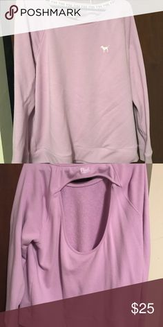 Victoria Secret Pink sweatshirt large back cut out Vs pink sweatshirt with back out. Excellent condition worn once. Large PINK Victoria's Secret Tops Sweatshirts & Hoodies
