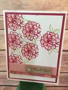 This Rose Red, Pink Pirouette, and Blushing Bride Thank You Card uses Stampin' Up!'s: Sale a Bration What I Love stamp set, Banner Punch, Iced Rhinestones, and the Blushing Bride Sequin Trim.  Check out the Video on the blog: www.stampwithjennifer.blogspot.com