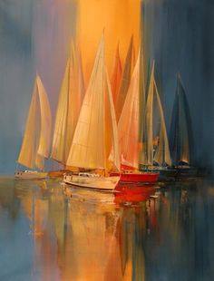 """""""Setting Sail"""" Artist Wilfred Lang Oil Painting Shanghai born, lives in Hawaii… Sailboat Painting, Boat Art, Famous Art, Fine Art, Acrylic Art, Painting Inspiration, Painting & Drawing, Modern Art, Sailing"""