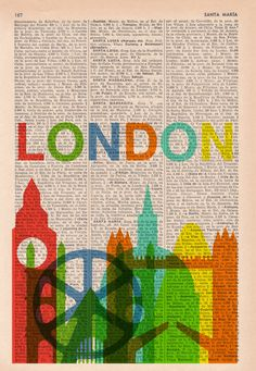 London skyline print art -Vintage Book Print