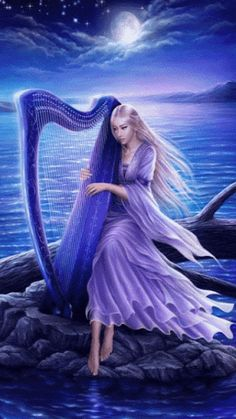 Lady with harp gif Fantasy World, Fantasy Art, Beau Gif, Foto Gif, Beautiful Gif, Moon Goddess, Goddess Art, Animation, Moving Pictures