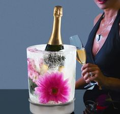 DIY Ice Wine Cooler with Flower. I've made one of these for a party...great hit!