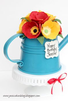 Jessicakes: A watering can cake tutorial Fancy Cakes, Cute Cakes, Gorgeous Cakes, Amazing Cakes, Fondant Cakes, Cupcake Cakes, Fondant Bow, 3d Cakes, Fondant Flowers