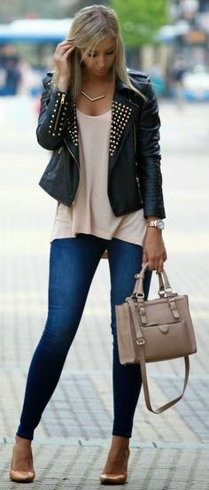Just a pretty style | Latest fashion trends: Street style | Edgy black leather jacket