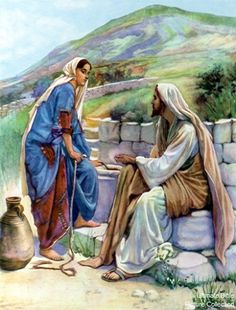 Jesus and the Samaritan woman at the well.