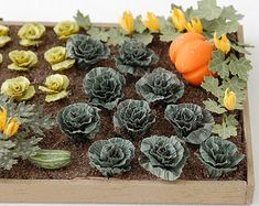"""1/24th Spring Cabbage Paper Vegetable Kit for 1/2"""" scale Dollhouses, Florists and Miniature Gardens"""