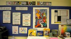 from artiswhatiteach.blogspot.com - On the back wall in my classroom is where I keep my inspiration board.  I change it periodically depending on what we are learning about in our lessons, so children can be inspired as they work.  I allow students to bring in anything they find outside of school that pertains to what we are learning about to encourage visual cultural thinking.