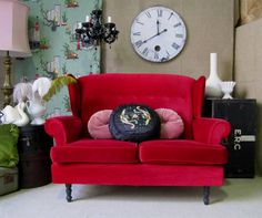 vintage RASPERRY RED velvet PETITE WINGBACK SOFA