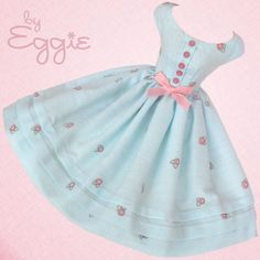 Blue Skies - Vintage Barbie Doll Dress Reproduction Repro Barbie Clothes