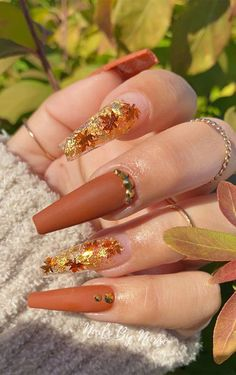 Trendy brown pumpkin colour nails We have a trendy pumpkin colour nails look to show you, this look similar as previous one but leaves... Cute Acrylic Nail Designs, Fall Nail Designs, Beautiful Nail Designs, Bling Acrylic Nails, Best Acrylic Nails, Acrylic Nails Autumn, Art Nails, October Nails, Nails Design With Rhinestones