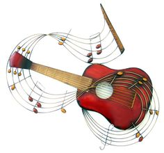 Guitar notes metal wall art Wonderful music piece finished in red and bronze colour tones Easy to hang using the rear mounting. Music Room Art, Music Decor, Music Wall, Guitar Art, Music Guitar, Guitar Sheet, Sheet Music, Ukulele, Metal Walls
