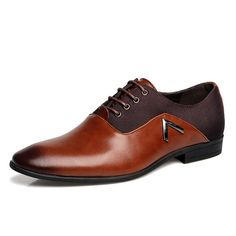 Big Size Color Blocking Classic Lace Up Business Formal Shoes For Men