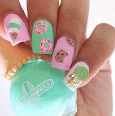 Candy, cookies, and sweet nail designs in pink and greenNails | Polish | Nail art | Spring | Springtime | Manicure