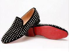 Men RESSOROTH  Black Velvet Loafers Slip-on Slipper Shoes With Bow Tie