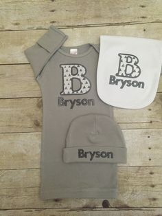 Baby boy coming home outfit. Personalized gown and beanie. Monogram gown and beanie. Grey gown, beanie, and burp cloth set. Embroidered gown by BabyRuthBoutique on Etsy https://www.etsy.com/listing/276911758/baby-boy-coming-home-outfit-personalized