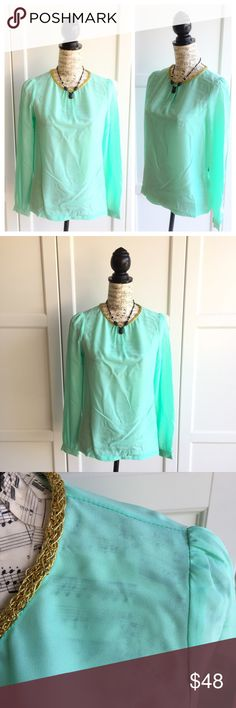 BCBGMaxAzria Mint Julip Blouse Top New with tags! Mint julip top by BCBGMaxAzria. Gold cording detail around neck. Size XS. 100% Polyester. BCBGMaxAzria Tops Blouses