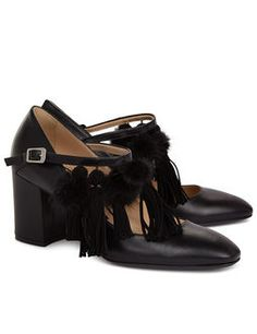 Black Tassle & Pom Pom Mary Jane Shoes